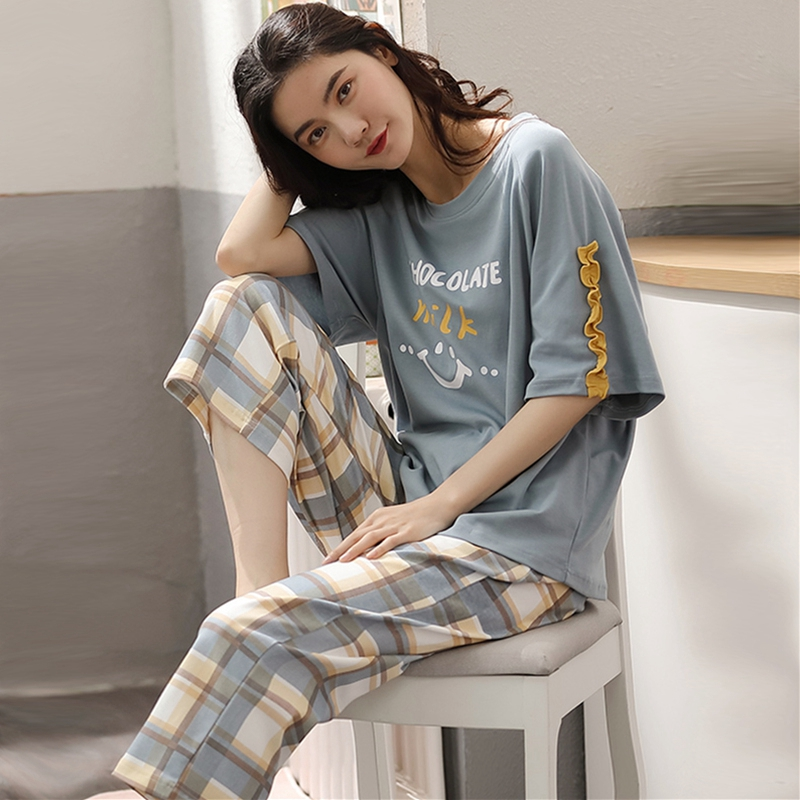 Pajamas womens summer cotton short sleeve thin two piece suit