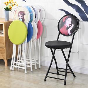 折叠凳子靠背椅子家用便携小圆凳宿舍椅餐椅办公椅会议培训电脑椅