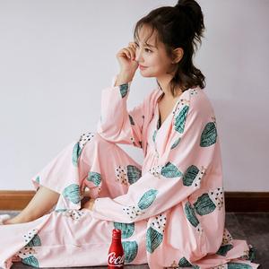 睡衣女秋季纯棉印花仙人掌吊带加胸垫三件套性感甜美家居服