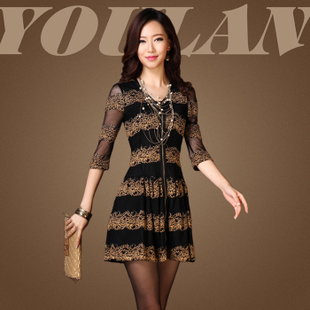 O Mei Europe and the new black Jin Leisi lace dress Slim thin high grade sections Ladies Summer Specials