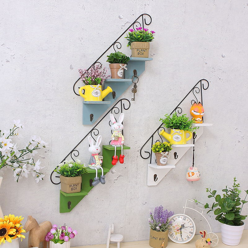 欧式ins墙面置物架客厅背景墙上铁艺装饰品店铺简约墙壁挂小花架