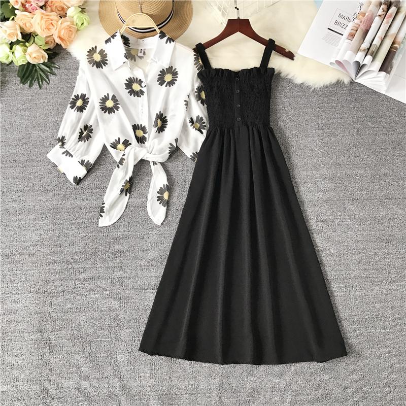 法式复古小雏菊雪纺连衣裙女两件套夏季新款高腰显瘦打底吊带裙子