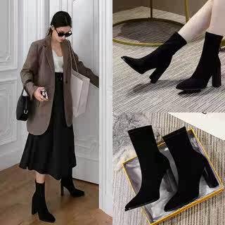 马丁靴2020年新款春秋冬季袜短靴子粗跟百搭高跟女鞋网红瘦瘦单靴