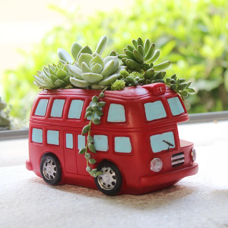 创意zakka卡通复古可爱汽车花盆绿植花器个性多肉微景观盆栽摆件