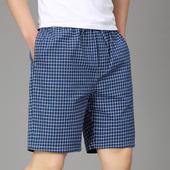 纯棉宽松薄款 夏天短裤 大码 男士 全棉休闲格子沙滩裤 睡裤 家居中裤
