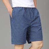 大码男士睡裤夏天短裤纯棉宽松薄款全棉休闲格子沙滩裤家居中裤