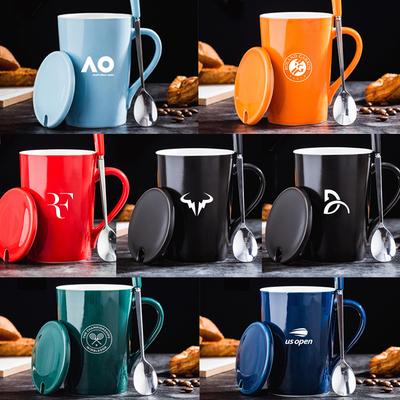 Grand Slam Australia, France Wenmei Tennis Federer Nadal Dejo Ceramic Mark Coffee Milk Cup Lid Gift