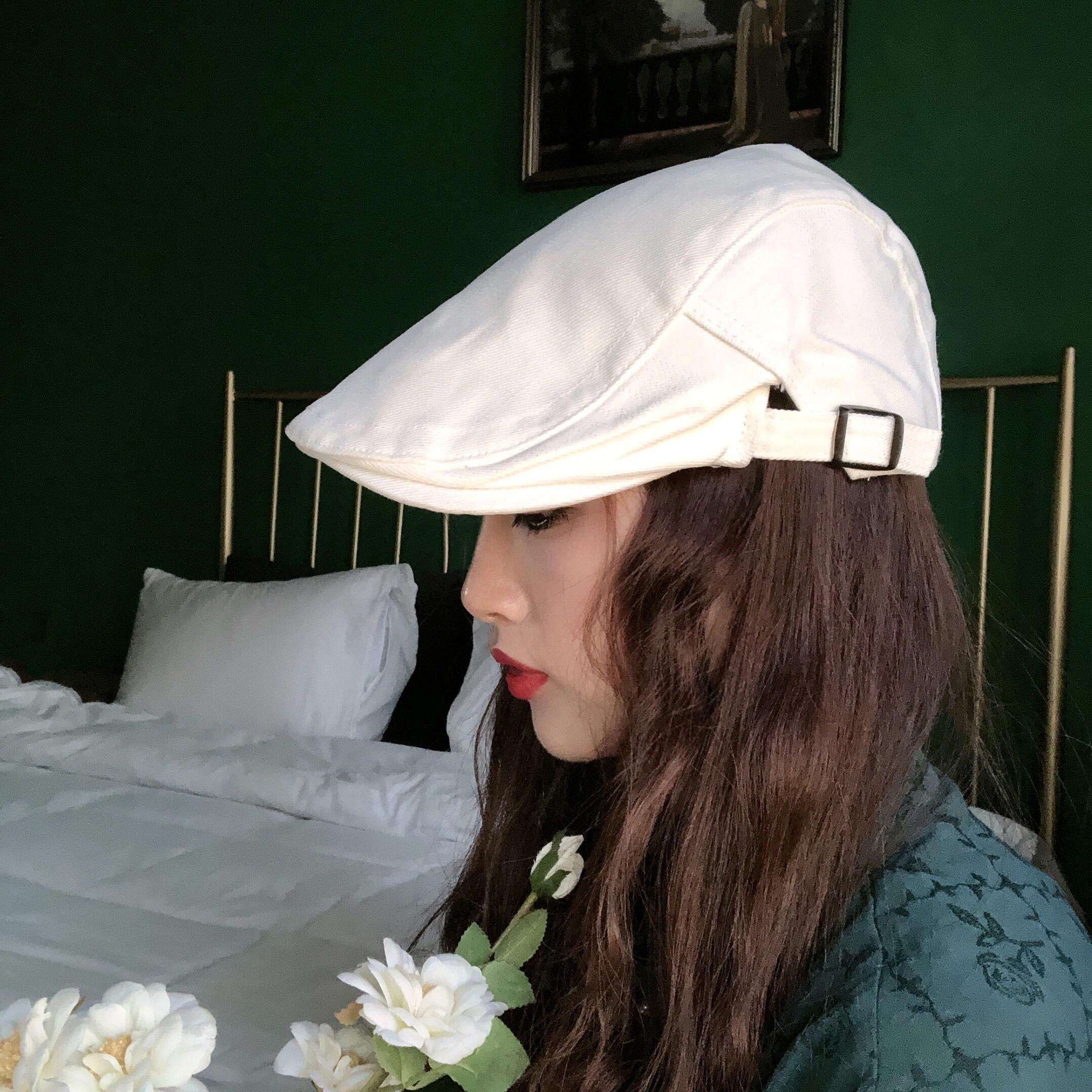 纯白色复古画家贝雷帽男女纯白年代感可调节前进鸭舌帽子图片