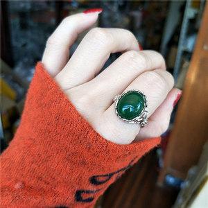 925纯银绿玉髓玛瑙活口气质镂空花纹个性时尚韩版夸张食指戒指女