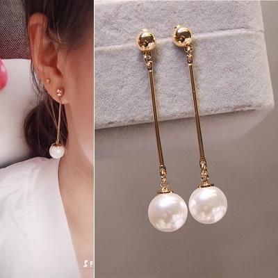 個性百搭網紅簡約潮人耳環女長款韓國簡約大氣質珍珠吊墜耳墜耳飾