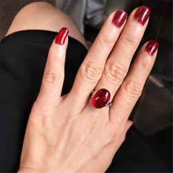 祖母绿红刚玉髓925纯银红色宝石开口复古个性潮人时尚食指戒指女