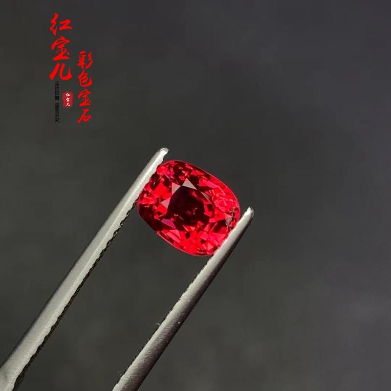1.59克拉天然无烧缅甸抹谷绝地武士鸽血红尖晶石裸石晶体干净满火 Изображение 1