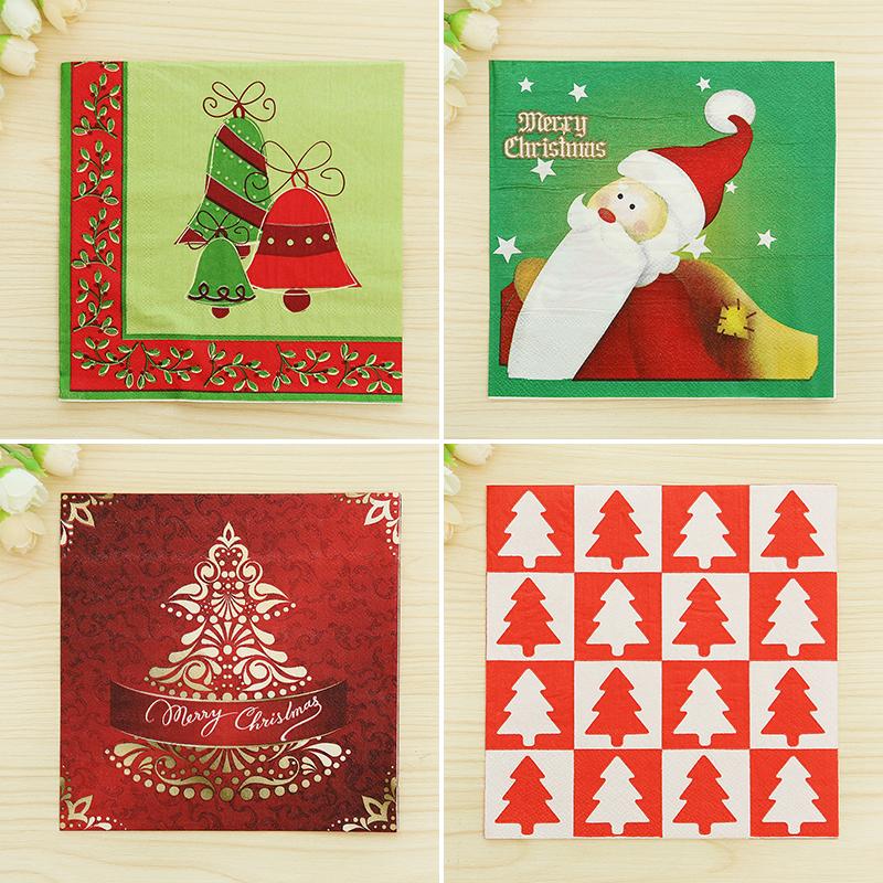 Цвет печати салфетка печатных салфетки цвет рождественские партии поставки салфетки рождественские украшения