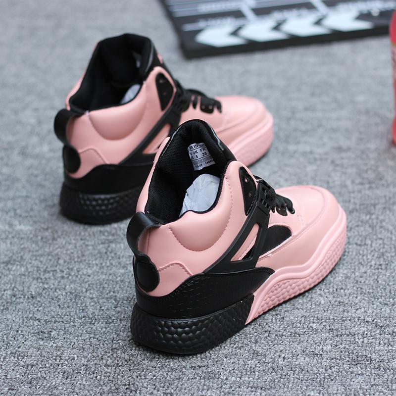 高帮鞋女粉色2019新款网红潮流嘻哈百搭韩版街舞学生休闲运动板鞋