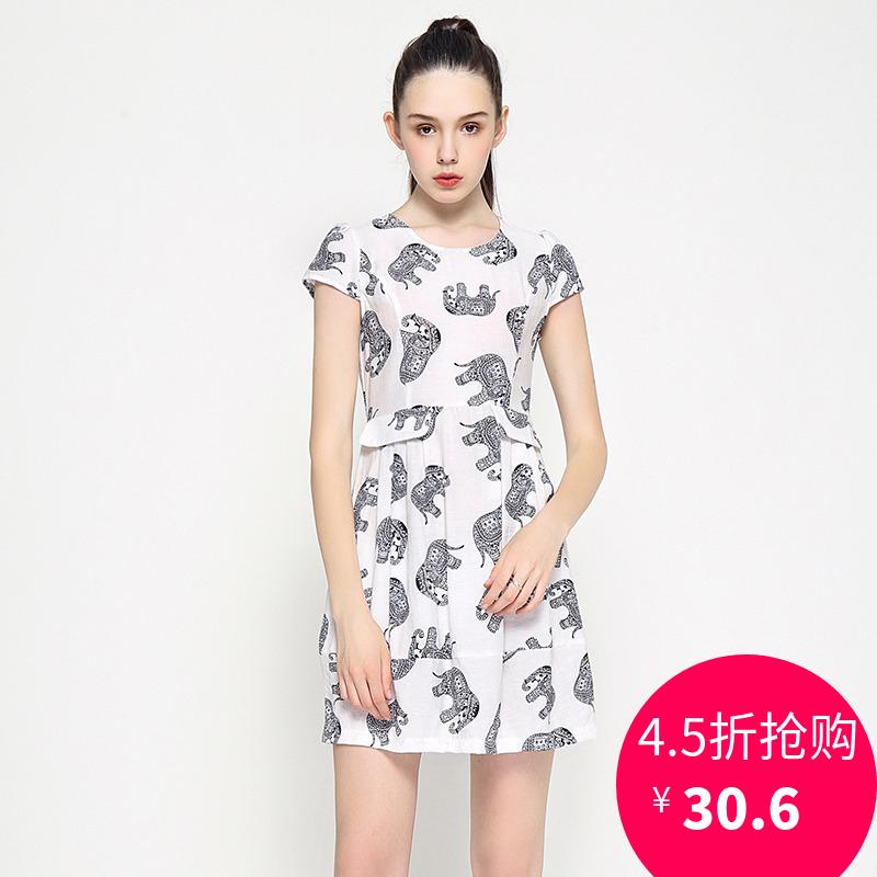 杭派女装品牌折扣 QIAN夏装新款正品剪标 修身大象印花亲肤连衣裙