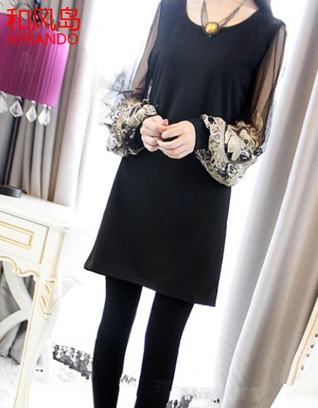 和风岛 夜店女装2017春装新款韩版甜美网纱刺绣灯笼袖长袖拼接打