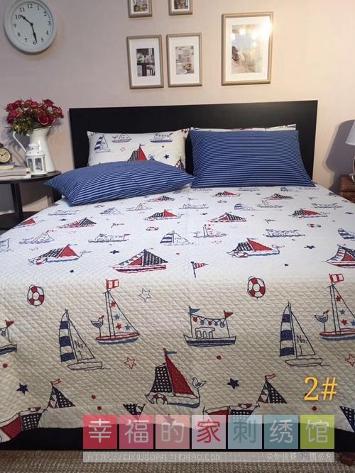 韩国纯棉斜纹水洗印花夹棉绗缝床盖儿童卡通床垫床单榻榻米包邮