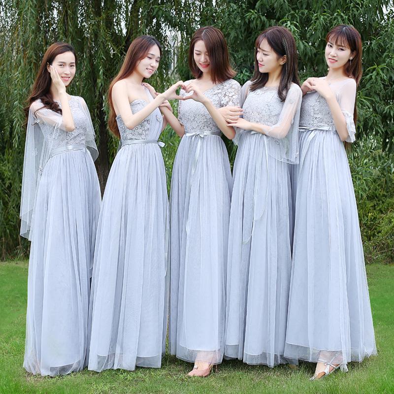 2018春夏季新款韩版伴娘服长款宴会长裙女装高贵中袖姐妹团晚礼服