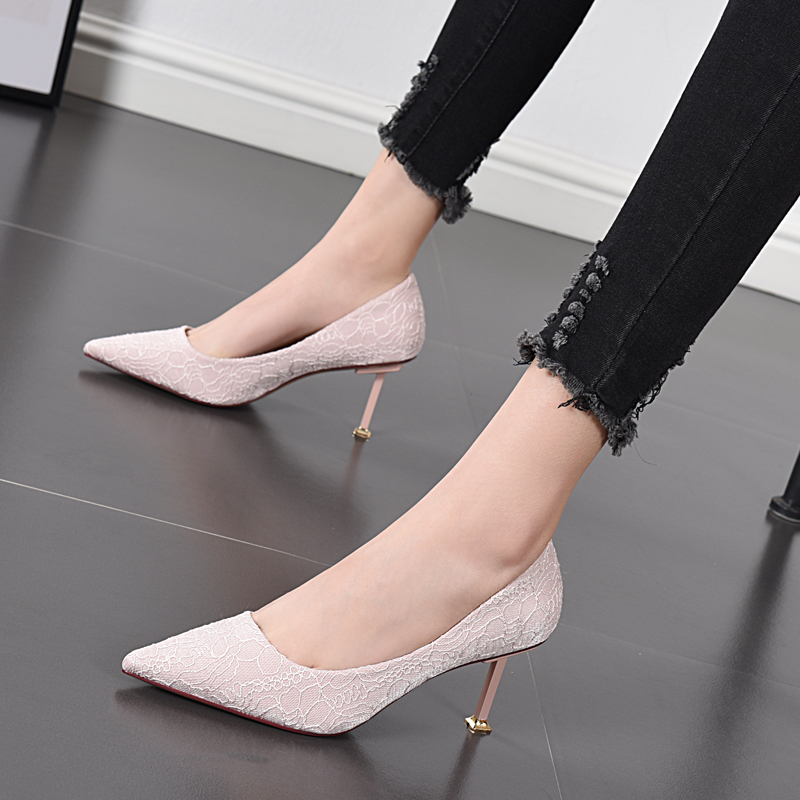 Womens low top shoes fashion pattern high heels Korean new shallow mouth womens shoes 2020 spring and autumn thin heel pointed womens single shoes