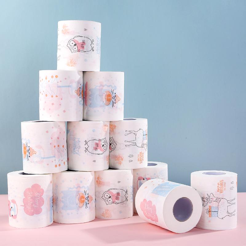 家庭用のティッシュペーパーには、プリント模様のトイレットペーパーが付いています。カラー可愛いアニメの押し流しペーパーが12巻あります。