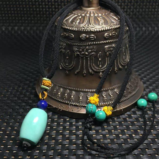 Оригинальные природные руды бирюзовый ведро бусины ожерелье падение лазурит лазури цепи ключи 108 бисер короткий Ожерелье из ожерелья