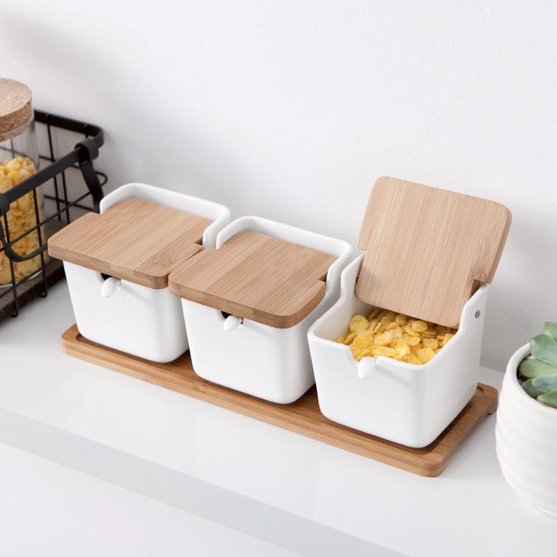 (用13.8元券)家用陶瓷调味料罐子佐料盒调味瓶罐