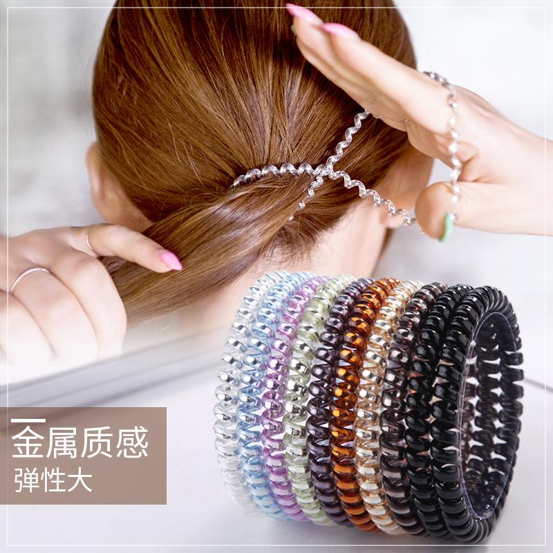 韩国扎头发绳电话线头绳细款可爱森女系成人无痕的橡皮筋电线发圈