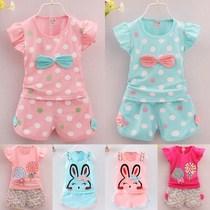 夏装女童套装女宝宝两件套时尚洋气短袖2韩版3中小童1儿童夏款4岁