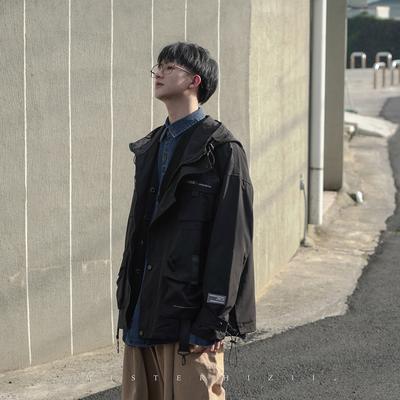 2020春季新款日系工装机能连帽男士外套休闲印花男士夹克百搭上衣
