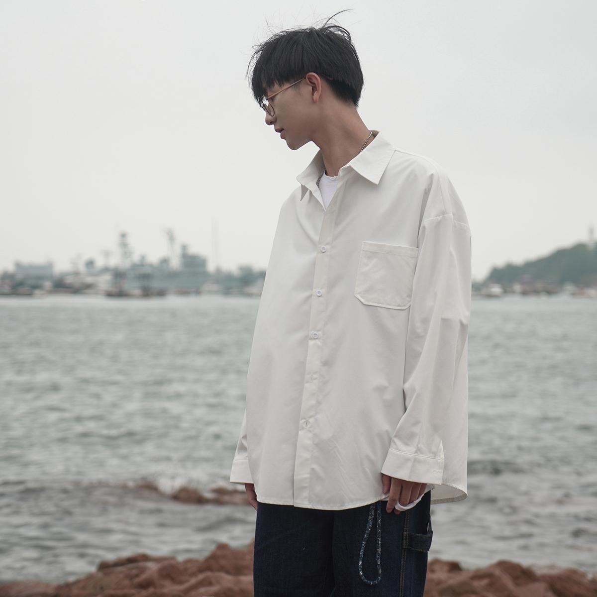 (用1元券)禾子先生 男士长袖衬衫韩版纯色宽松小清新港味潮流秋季打底衬衣