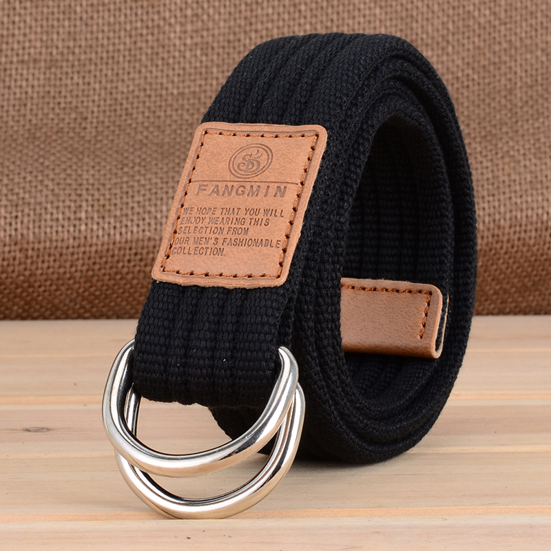 Daily special offer for students and men general canvas belt casual business jeans double buckle belt outdoor
