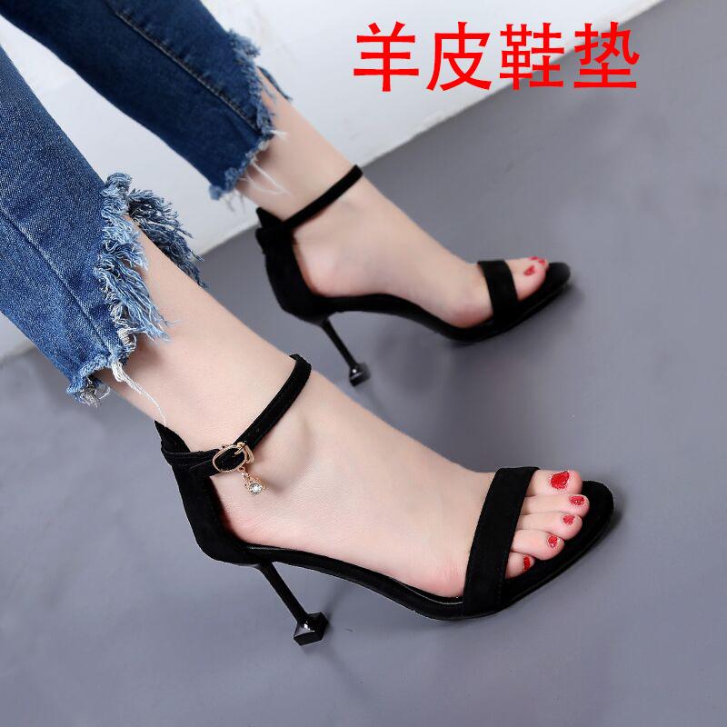 Fish mouth summer new high heels, one line buckle sandals, womens cat heel, thin heel, versatile Roman large small 5cm