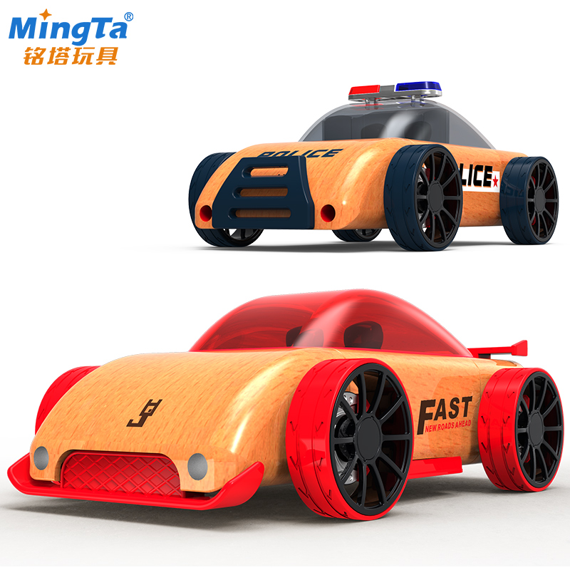 铭塔仿真木制拆装惯性车模儿童益智玩具车男女孩小汽车模型警察