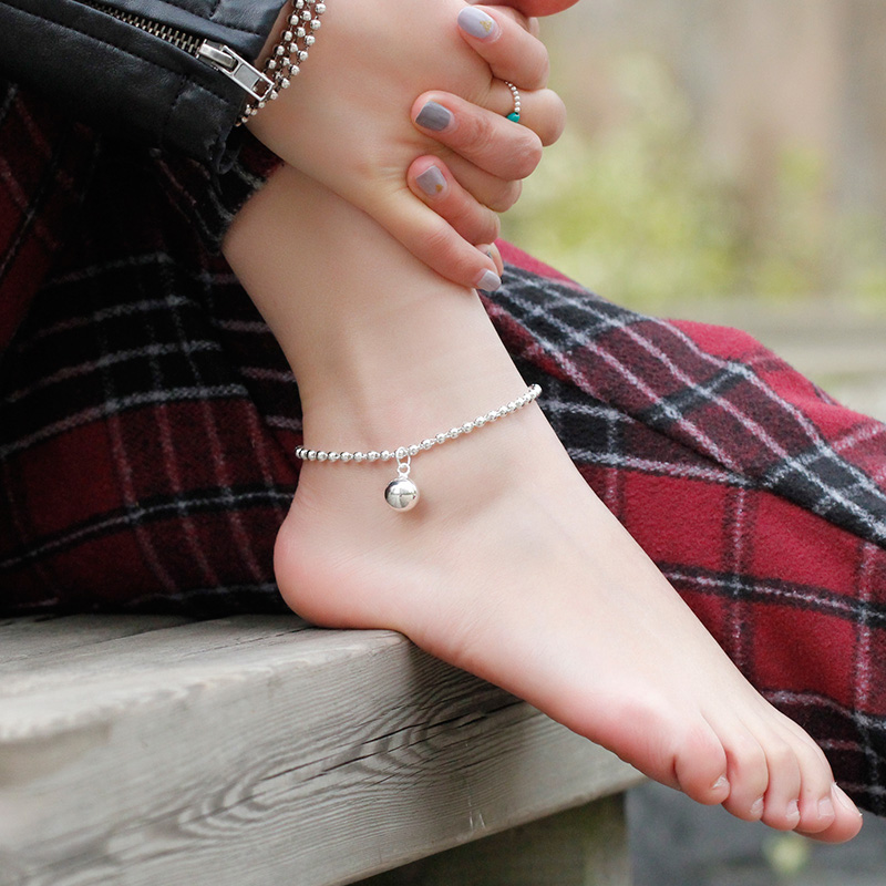 999 sterling silver foot chain womens Korean version Gongling foot silver fashion simple retro minority versatile national style bell jewelry