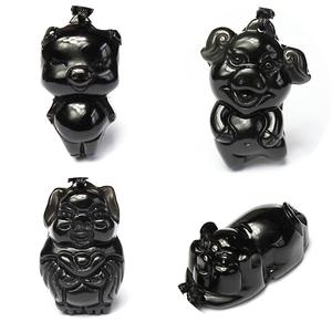 男女带黑曜石黑水晶猪挂件黑色吊坠