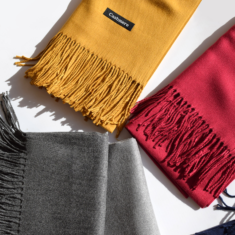 Cashmere scarf female autumn and winter Korean imitation cashmere mens Scarf Black warm air conditioning large shawl