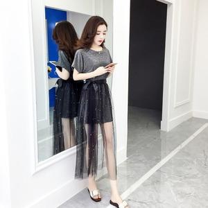 领5元券购买小香风套装女2019夏季新款韩版闪光连衣裙+重工钉珠半身裙两件套