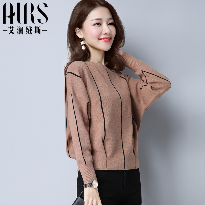 2021 new womens clothing spring and autumn Korean version short round neck Pullover long sleeve loose sweater Batman womens sweater