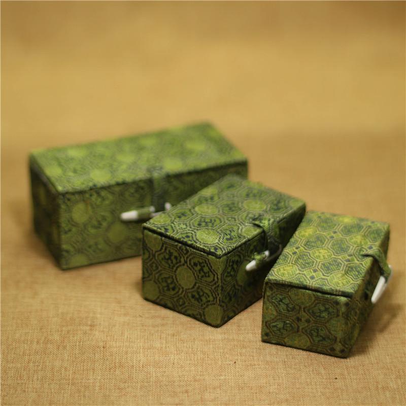绿布内黄单章锦盒印石盒子玉石青田石印章盒书画篆刻包装金石篆刻