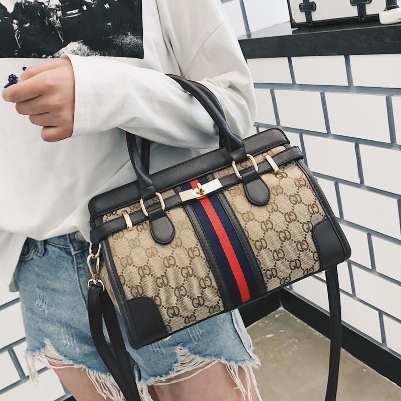 铂金包2018新款手提女包欧美时尚经典帆布女士单肩包OL通勤斜挎包