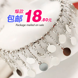 2020 new Korean style tassel double layer bright face piece inlaid with diamond temperament beautiful bell Anklet womens jewelry gift