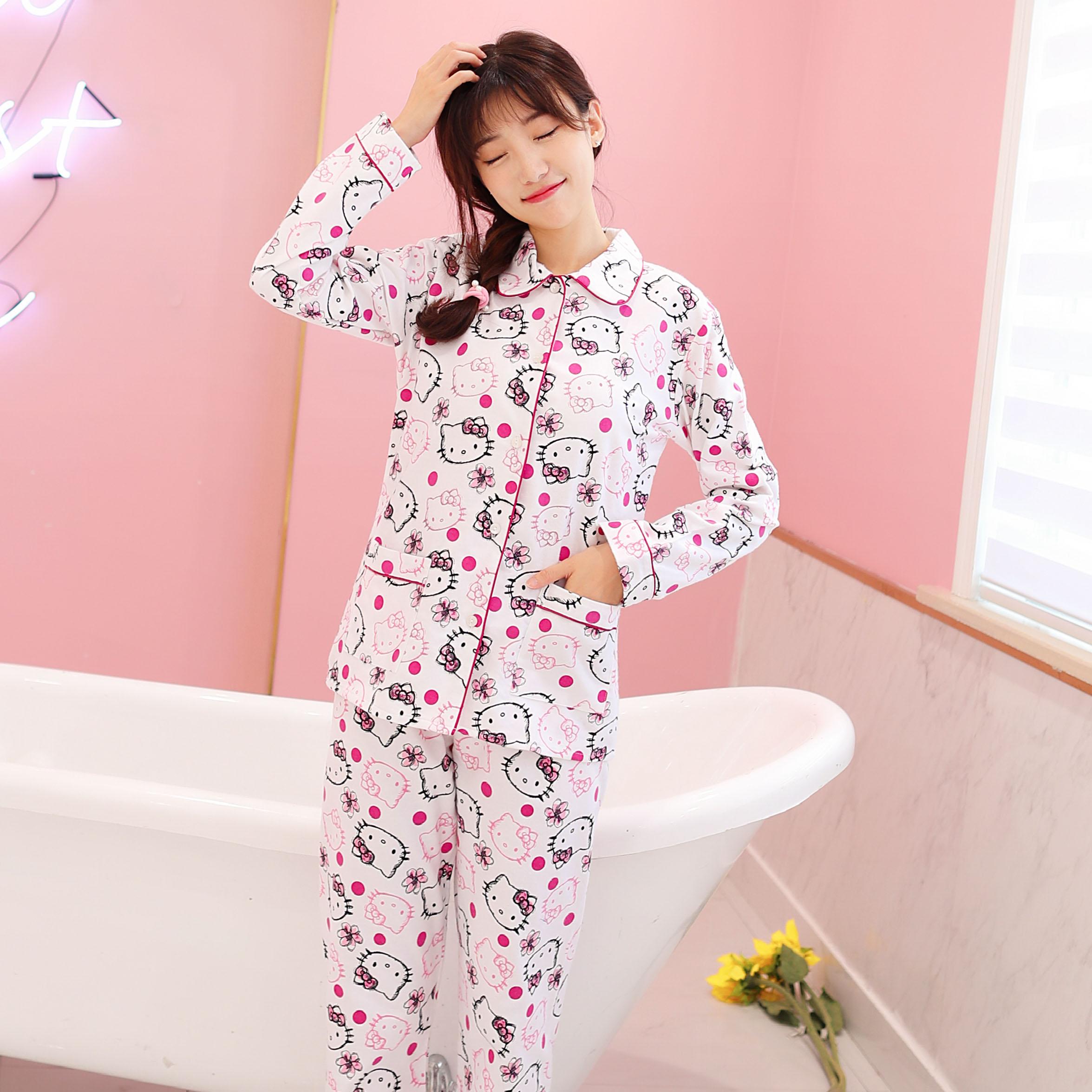 HELLO KITTY凯蒂猫 秋冬纯棉女式 家居服绒布睡衣 2件套装长袖