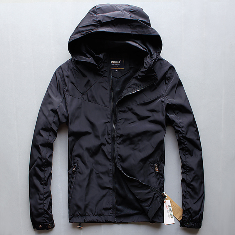 Spring and autumn coat thin single jacket coach mens Korean hooded large windbreaker sports leisure fat youth