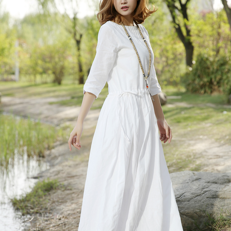 New autumn pure ramie dress in 2019 shows thin literature and art white temperament womens dress with waist closing cotton, linen and linen