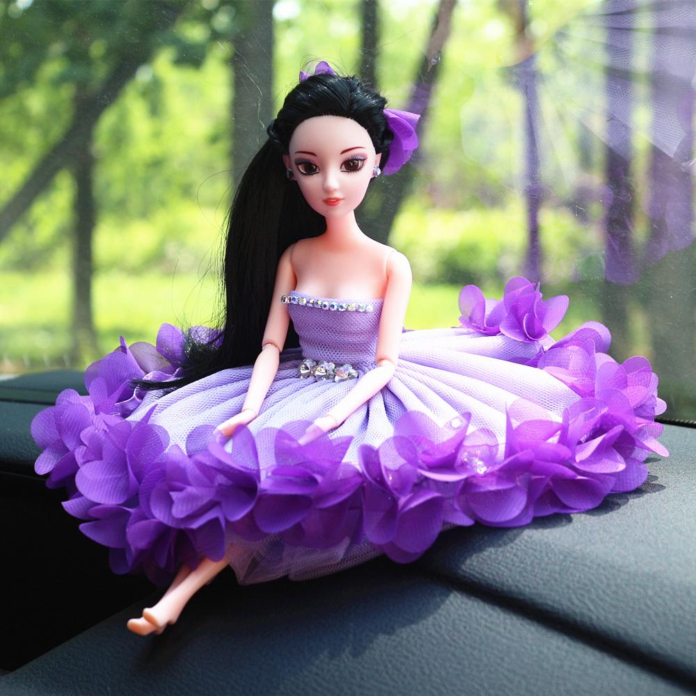 汽車飾品擺件 車內女 DIY 可愛車飾 蕾絲卡通娃娃婚紗公主