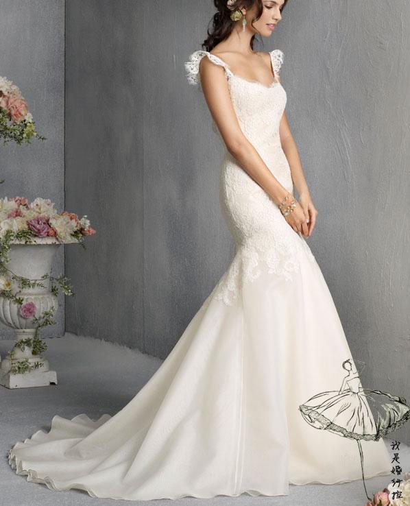 Осень 2014 новые Свадебные платья одно плечо талии спинки Кружевная рыбий хвост Свадебное платье Свадебные платья