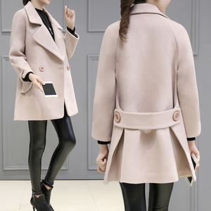 实拍2017秋冬季新款韩版呢子外套女短款九分袖毛呢女宽松显瘦