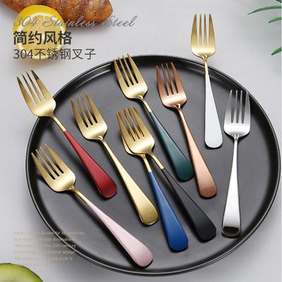 304不锈钢勺子叉子北欧家用吃饭勺小汤匙长柄沙拉叉甜品勺