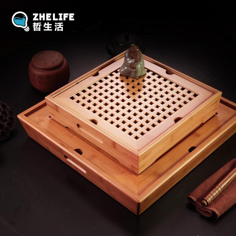 功夫茶具竹茶盤嵌入式托盤儲水排水式茶托竹製茶海茶台日式小號木