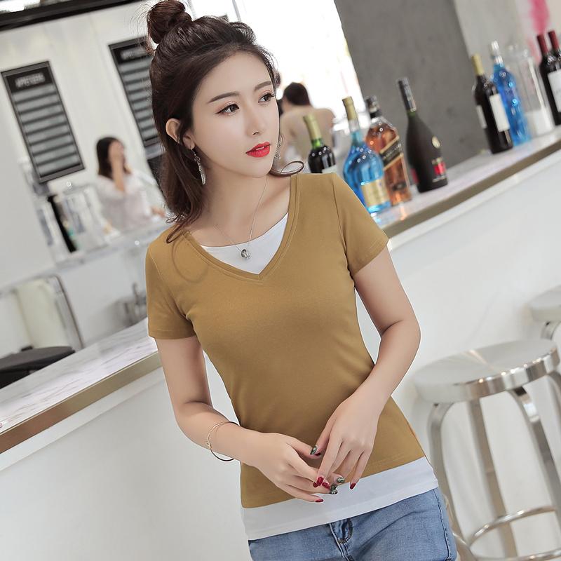 2021 summer short sleeve V-neck T-shirt womens small shirt pure cotton fake two-piece top slim bottomed shirt half sleeve T-shirt